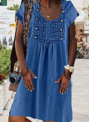 A-line Dress Round Neckline Denim Dress (4369185)