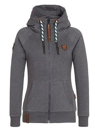 Solid Casual Hooded Pockets Zipper Sweatshirts (101399011)