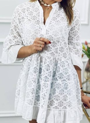 Casual Floral Tunic V-Neckline Shift Dress (104918301)