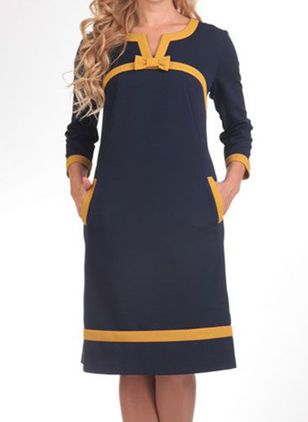 Casual Color Block Tunic V-Neckline A-line Dress (107805424)
