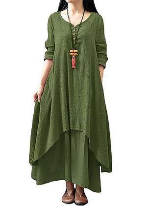 Solid V-Neckline Half Sleeve Maxi Shift Dress