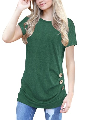 Cotton Solid Round Neck Short Sleeve T-shirts (1187422)