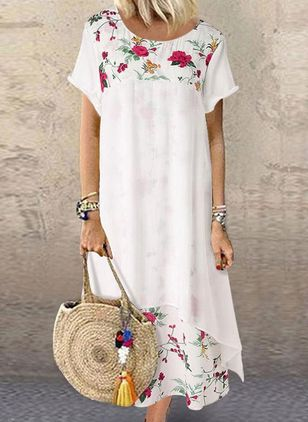 Casual Floral Tunic Round Neckline A-line Dress (4541193)