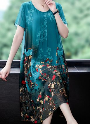 Casual Floral Tunic Round Neckline Shift Dress (100546587)