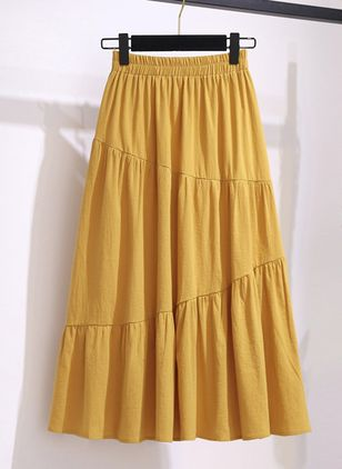 Solid Mid-Calf Casual Skirts (147152070)