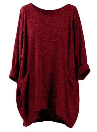 Round Neckline Solid Oversized Loose Long None Sweaters