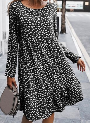 Casual Leopard Tunic Round Neckline A-line Dress (107562203)