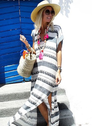 Cotton Color Block Short Sleeve Maxi Shift Dress