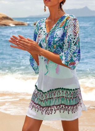 Polyester Pattern Floral Cover-Ups Swimwear (1289576)