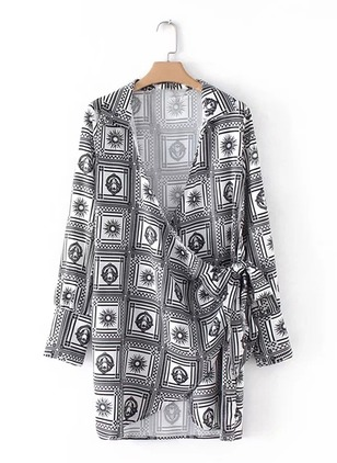 Geometric Wrap V-Neckline Long Sleeve Shift Dress