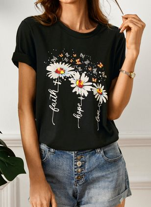 Floral Round Neck Short Sleeve Casual T-shirts (4043608)