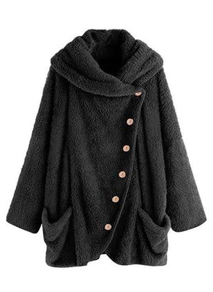 Long Sleeve V-neck Buttons Pockets Fur Coats (103038450)