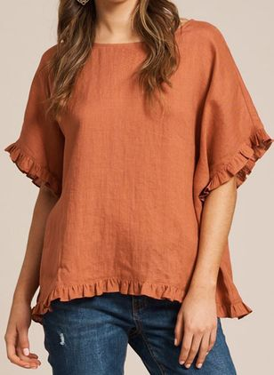 Solid Casual Round Neckline Short Sleeve Blouses (4265698)