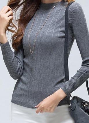 Cotton Solid Round Neck Long Sleeve Casual T-shirts