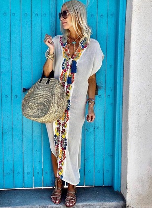 Floral Embroidery Short Sleeve Maxi Shift Dress