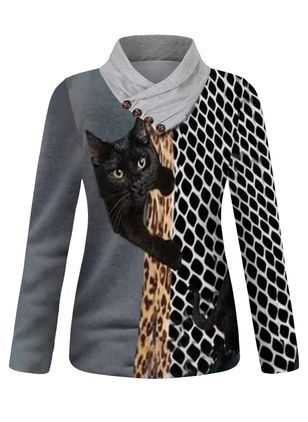 Blusas Informal Manga larga Escote alto Animal (146988071)