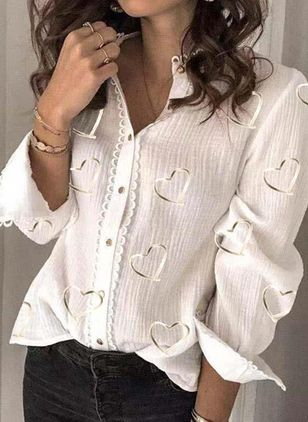 Geometric Casual Round Neckline Long Sleeve Blouses (147089596)