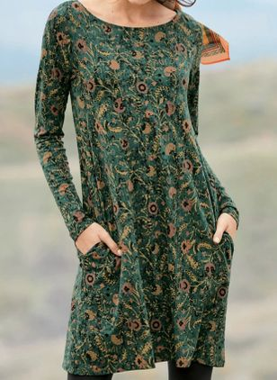 Casual Floral Tunic Round Neckline Shift Dress (4541612)