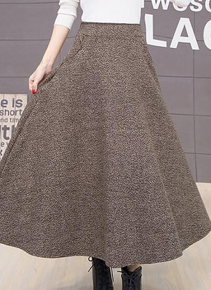 Wool Solid Maxi Casual None Skirts