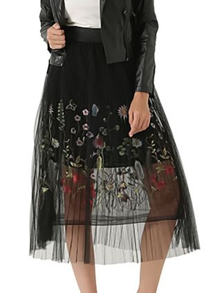 Floral Mid-Calf Elegant Others Skirts