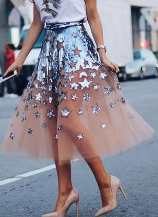 Color Block Mid-Calf Elegant Zipper Sequins Skirts