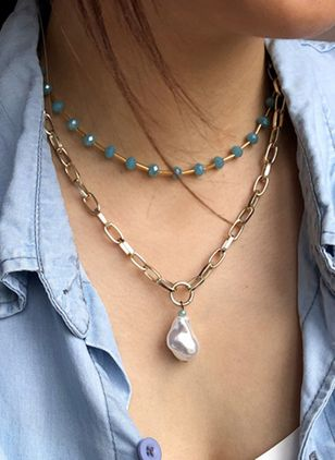 Casual Round Pearls Pendant Necklaces (4073874)