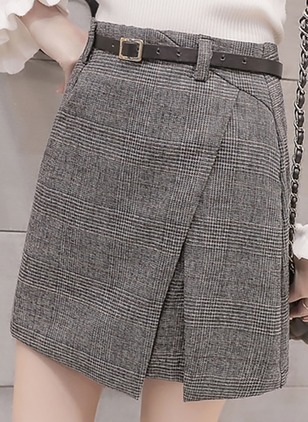 Wool Solid Mini Sashes Skirts