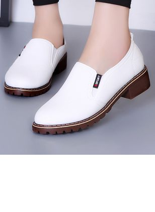 Elastic Band Closed Toe Flat Heel Shoes