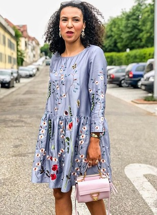 Floral Peasant Long Sleeve Above Knee Shift Dress