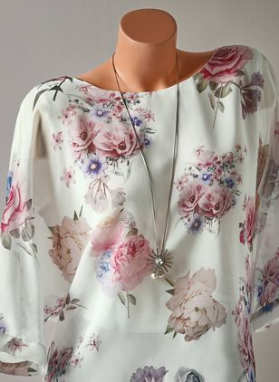 Floral Casual Round Neckline Half Sleeve Blouses (1504088)