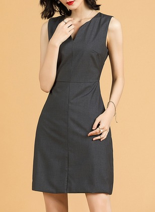 Solid Skater V-Neckline Sleeveless Sheath Dress