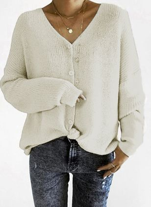 V-Neckline Solid Loose Regular Buttons Sweaters