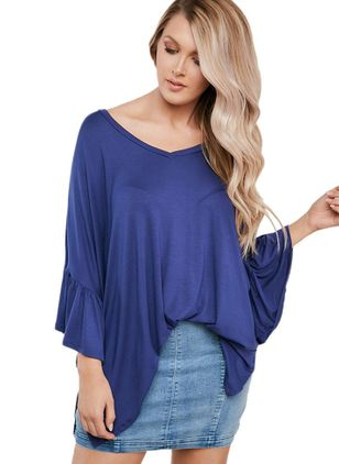 Plus Size Solid Casual V-Neckline 3/4 Sleeves Blouses