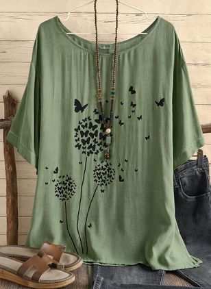 Floral Round Neck Half Sleeve Casual T-shirts (146964267)