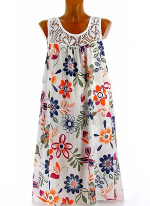 Casual Floral Tunic Round Neckline A-line Dress (4074744)