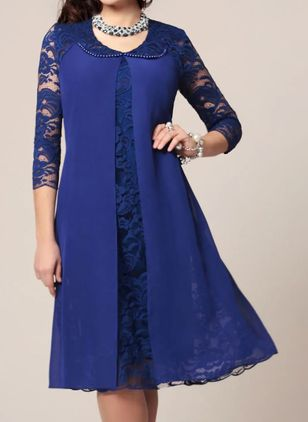 Elegant Solid Tunic Round Neckline Shift Dress (101326516)