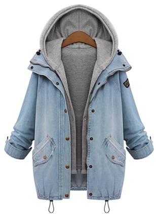 Long Sleeve Lapel Pockets Denim Jackets