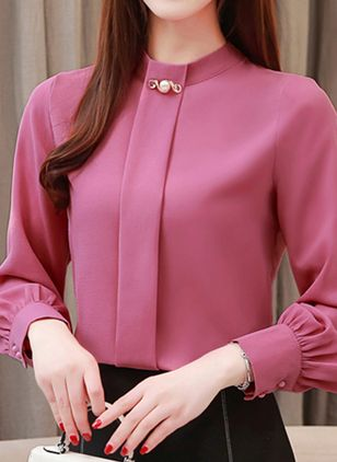 Solid Casual Round Neckline Long Sleeve Blouses (1371463)