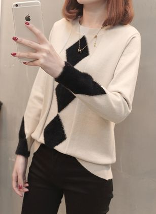 Round Neckline Geometric Loose Regular Shift Sweaters