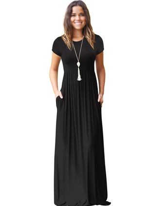 Cotton Solid Short Sleeve Maxi A-line Dress