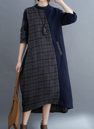 Casual Plaid Tunic Round Neckline A-line Dress (106703593)