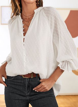 Solid Casual V-Neckline 3/4 Sleeves Blouses (1369606)