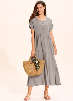 Casual Solid Buttons Tunic Shift Dress (1318677)