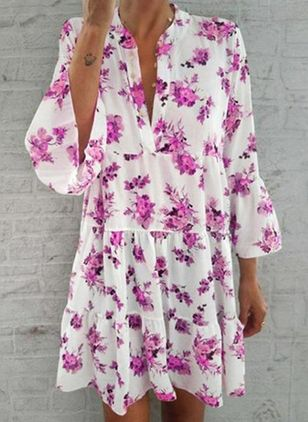 Casual Floral Tunic V-Neckline Shift Dress (4209048)