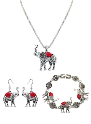 Animal Round Gemstone Necklace Earring Bracelet Jewelry Sets