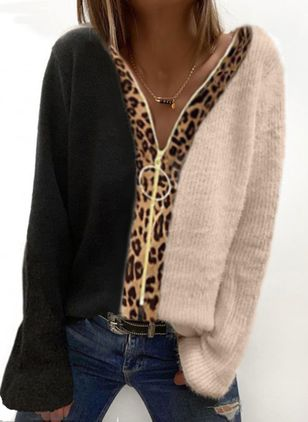 V-Neckline Leopard Casual Regular Zipper Sweaters (146812358)