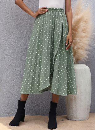 Polka Dot Mid-Calf Casual Pattern Skirts (147152106)