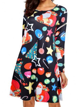 Christmas Character Round Neckline Above Knee X-line Dress (125152847)