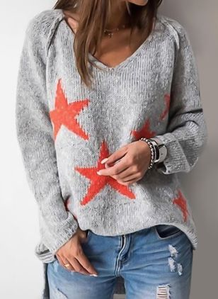 V-Neckline Geometric Loose Regular Shift Sweaters
