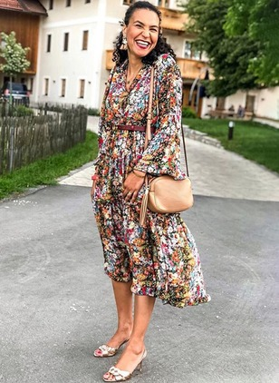 Floral Wrap Long Sleeve Midi A-line Dress